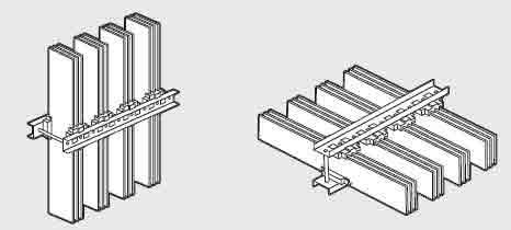نصب شمشها بر روی لبه بصورت افقی و عمودی با ساپورت یا بستهای افقی