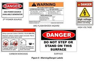 برچسب های هشدار/خطر دیزل ژنراتور