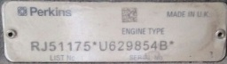 عکس پلاک پرکینز- جدول و پلاک مشخصات فنی موتور دیزل ژنراتور پرکینز